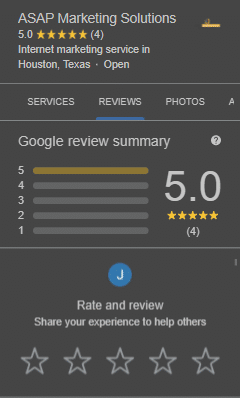 further faded screenshot of ASAP Marketing Solutions' reviews