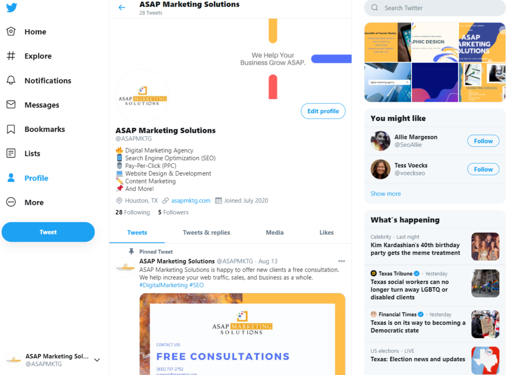 ASAP Marketing Twitter Profile Page