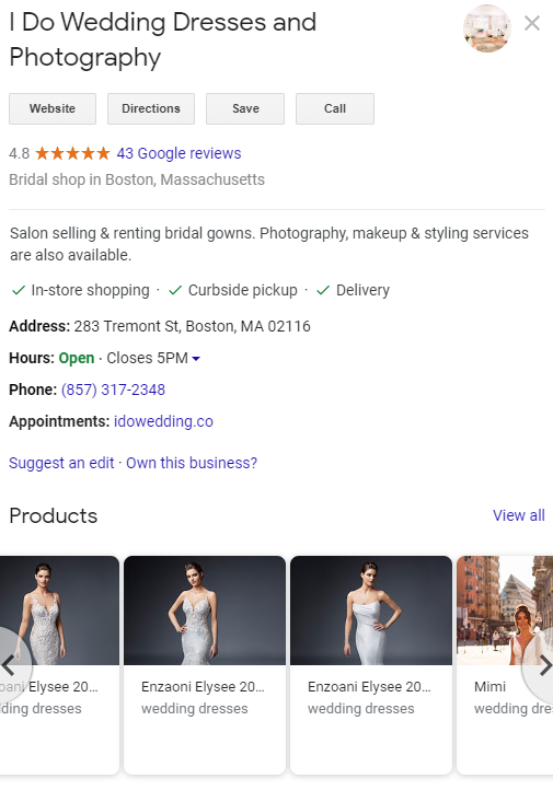 Google My Business wedding boutique example