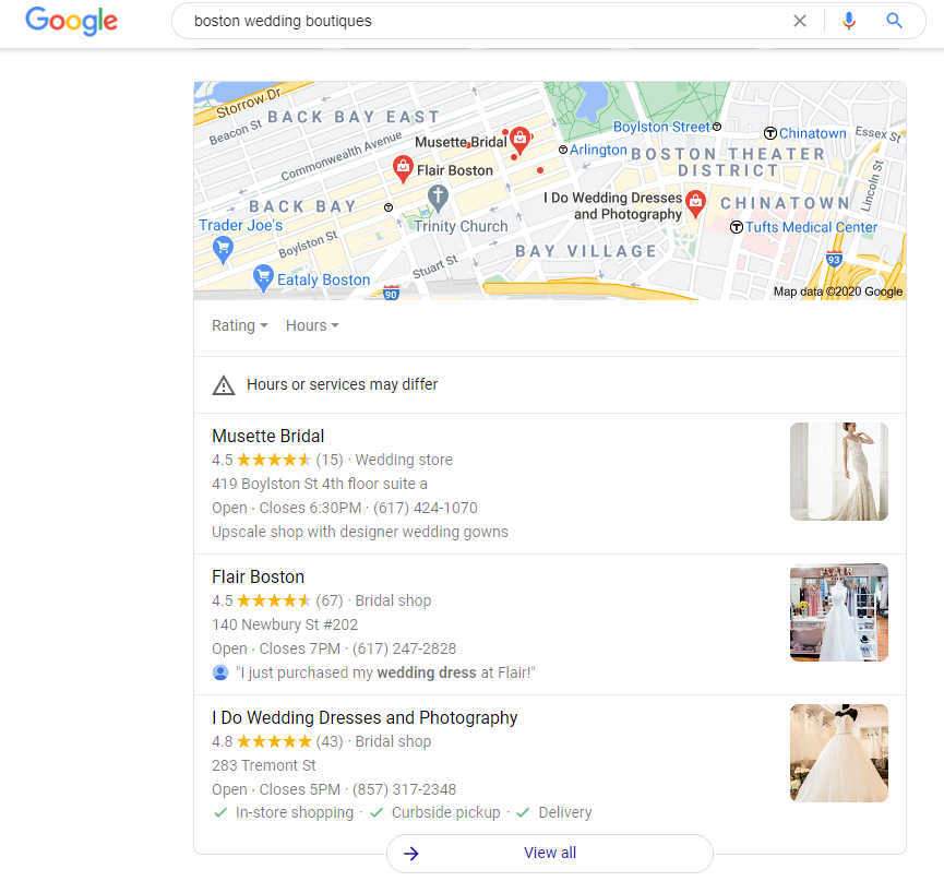Google My Business wedding boutique Boston local pack
