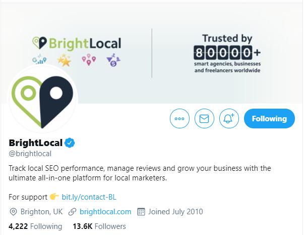 BrightLocal Twitter Profile