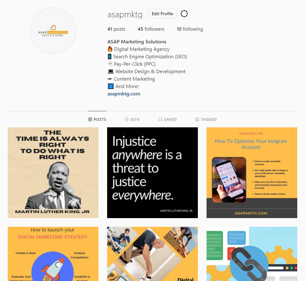 ASAP Marketing Instagram account | how to optimize your business Instagram page