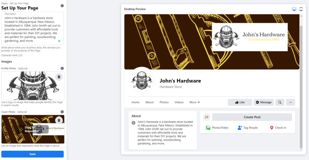 John's Hardware Facebook page images