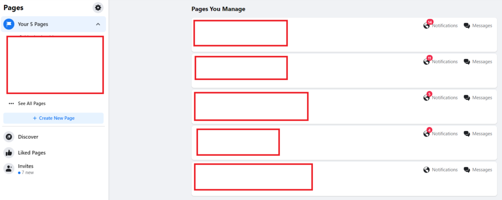 pages you manage