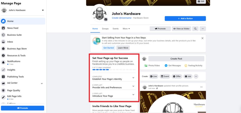 John's Hardware Facebook Page Setup