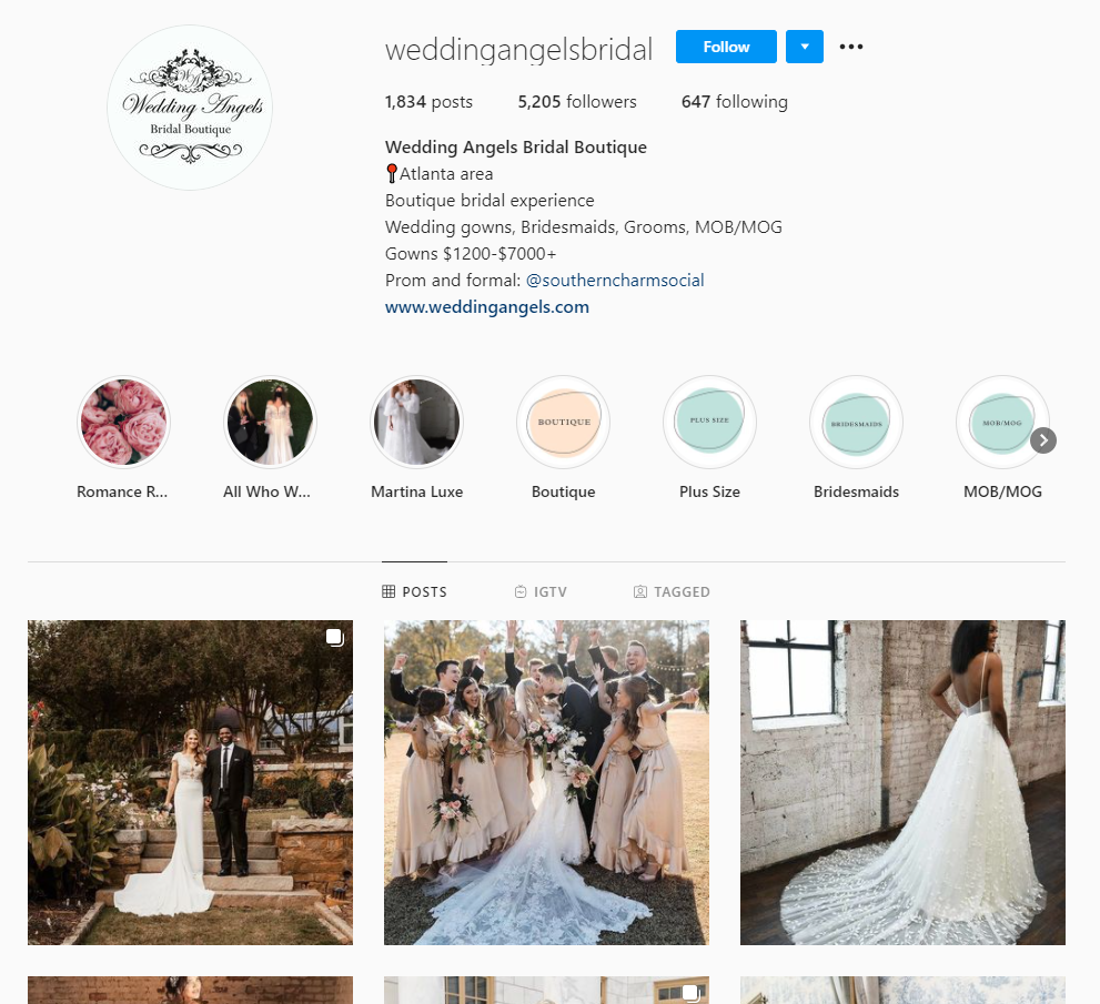 Wedding Angels Bridal Instagram business page