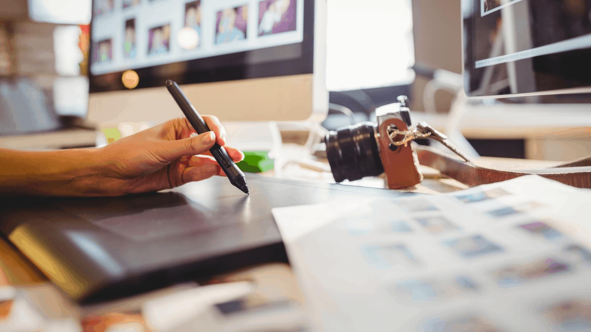 graphic designer on digital tablet
